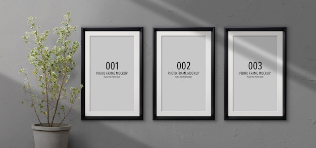 Maqueta de marcos de fotos con sombra