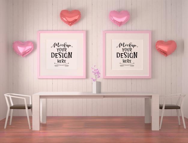 Maqueta de marcos de póster en sala de comedor