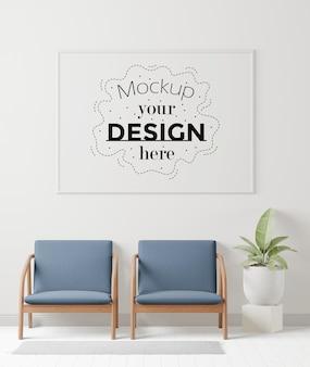Maqueta de marcos de póster en la sala de espera