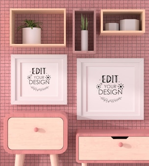 Maqueta de marcos de póster en la sala de estar