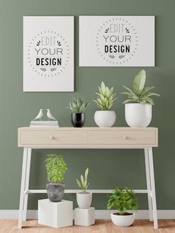 Maqueta de marcos de póster en la sala