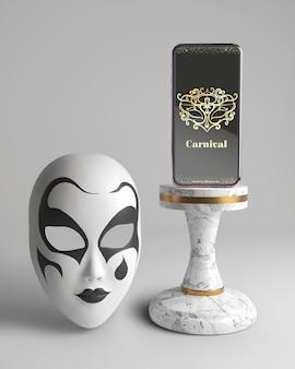 Maqueta y máscara de la aplicación de carnaval para teléfonos móviles