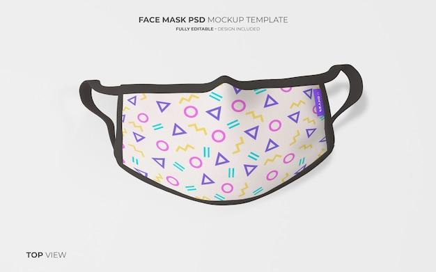 Maqueta de máscara facial de moda en la vista superior