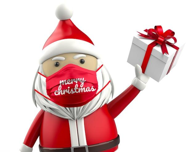 Maqueta de mascarilla de feliz navidad santa