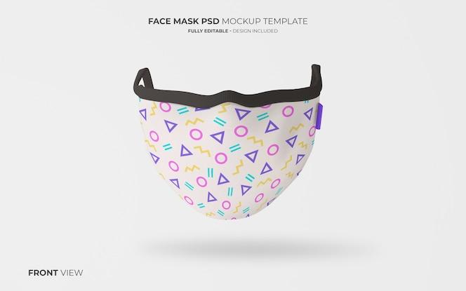 Maqueta de mascarilla de moda en vista frontal