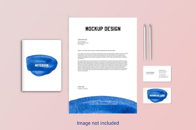Maqueta de membrete, cuaderno y tarjeta de visita