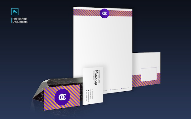 Maqueta con membrete de identificación corporativa y tarjeta de visita con plantilla de diseño de piedra negra