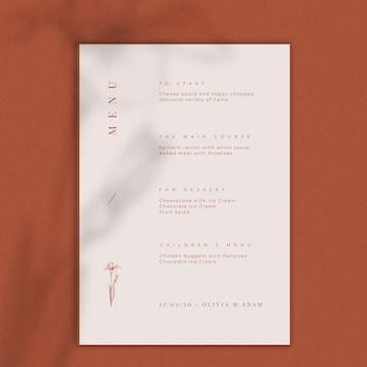 Maqueta de menú de concepto de boda