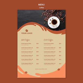 Maqueta del menú del concepto de café