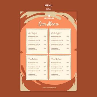 Maqueta del menú conceptual de café