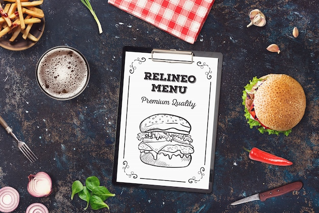 Maqueta de menú de hamburguesas