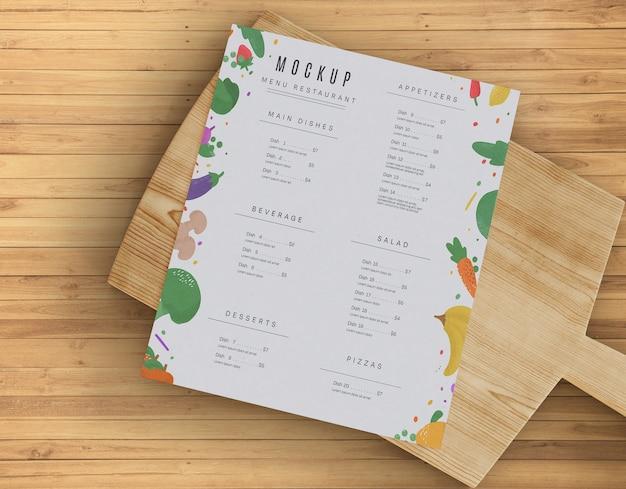 Maqueta de menú de restaurante