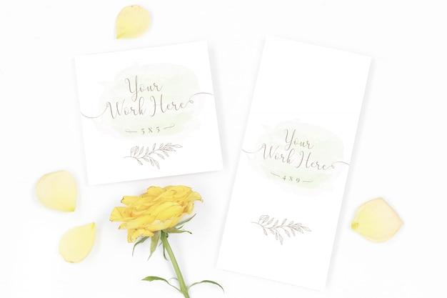Maqueta de menú y tarjeta de agradecimiento con rosas amarillas