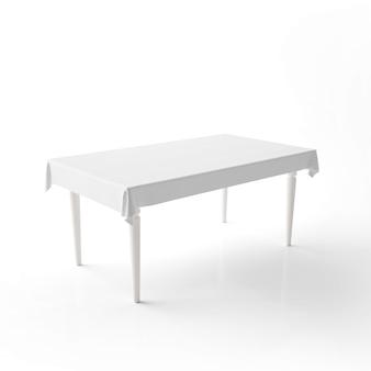 Maqueta de mesa de comedor vacía con un paño blanco