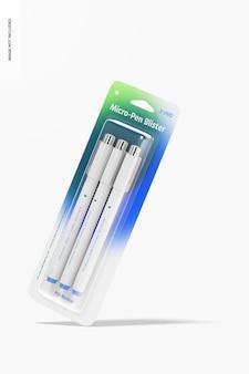 Maqueta de micro-bolígrafo en blíster, cayendo