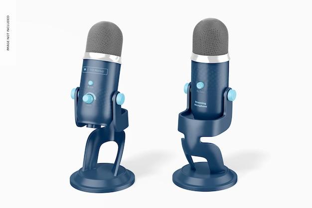 Maqueta de micrófono de transmisión, frontal y posterior