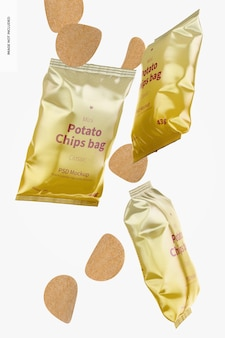 Maqueta de mini bolsas de patatas brillantes