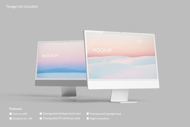 Maqueta minimalista de pantalla de escritorio de doble pc
