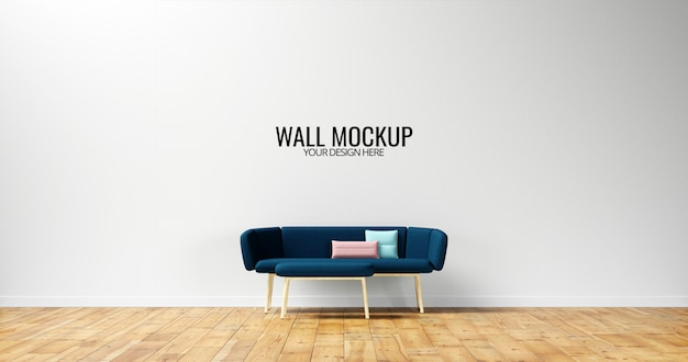 Maqueta minimalista de pared interior con sofá azul marino