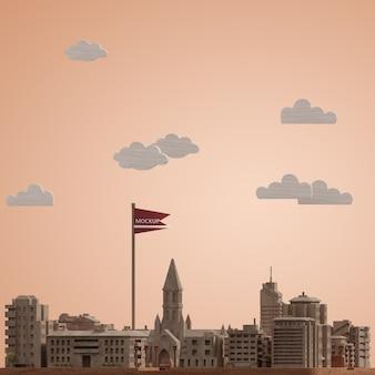 Maqueta del modelo en miniatura del día mundial de las ciudades 3d