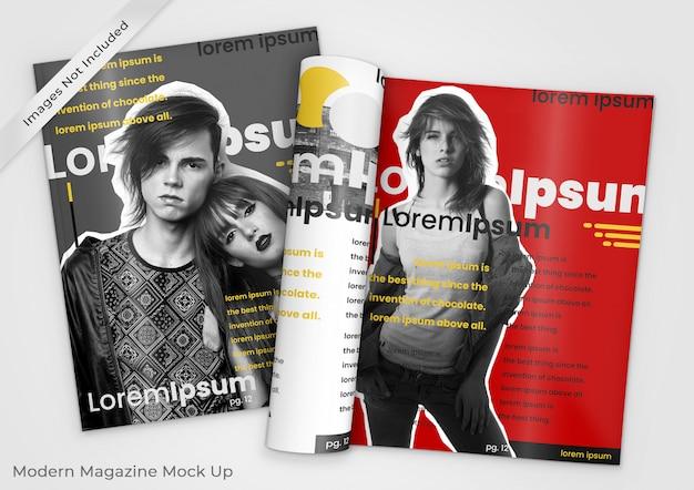 Maqueta moderna de dos revistas, una abierta y otra cerrada.