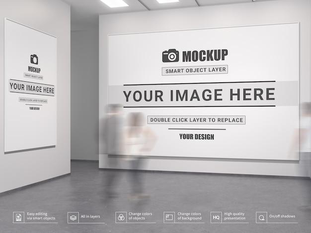 Maqueta moderna del interior de la galería de arte vacía