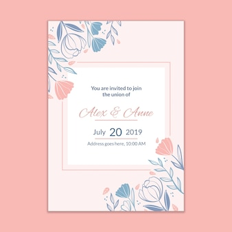 Maqueta moderna de invitación de boda