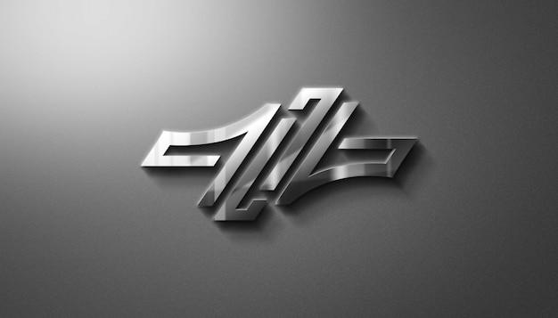 Maqueta moderna de logotipo metálico 3d
