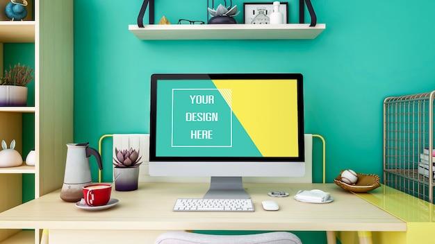 Maqueta moderna de pantalla de monitor de escritorio de computadora personal