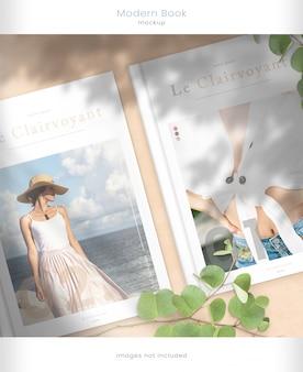 Maqueta moderna de portada de revista con superposiciones de sombra de hoja