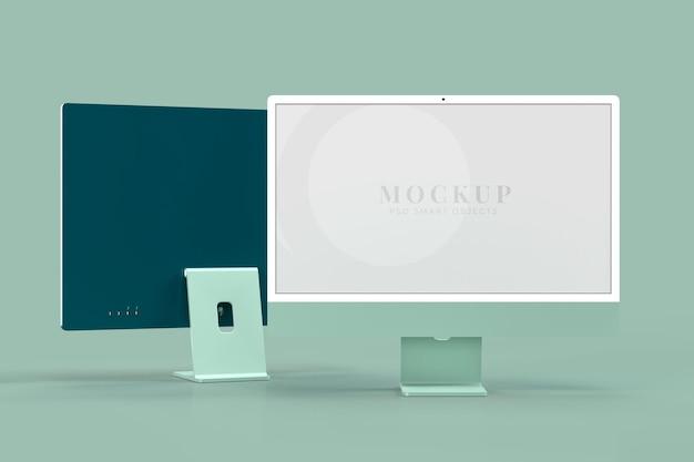 Maqueta del monitor 24. plantilla de maquetas para presentación. representación 3d