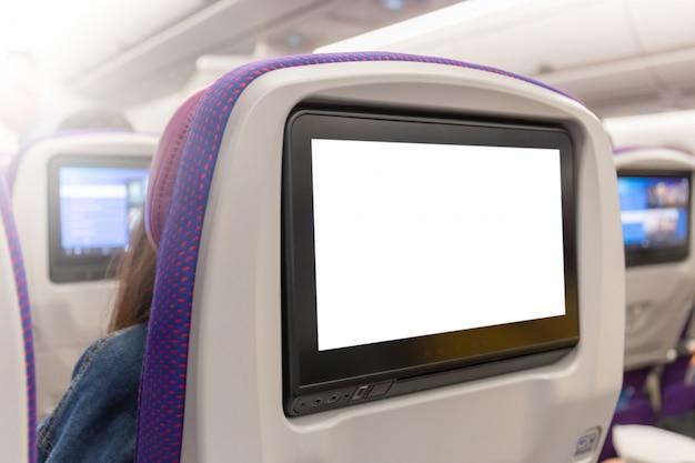 Maqueta del monitor de avión en cabina en el interior del plano del asiento del pasajero