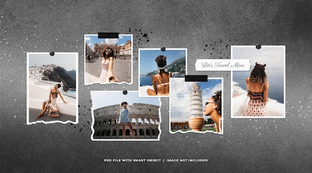 Maqueta de moodboard con marco de fotos de viaje con salpicaduras de tinta