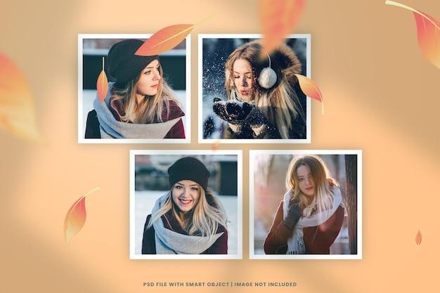 Maqueta de moodboard de pared con collage de tarjeta de marco de foto rasgado de hoja