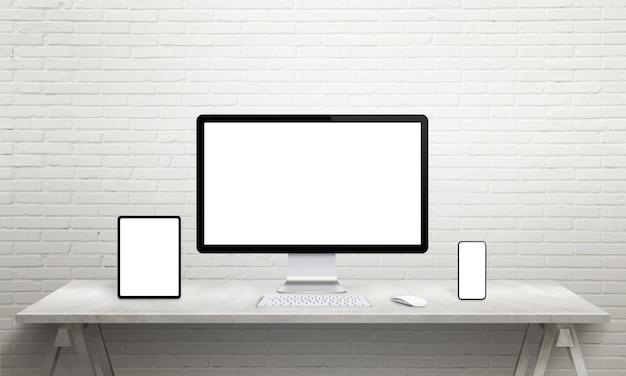 Maqueta de múltiples dispositivos de visualización