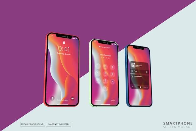 Maqueta con múltiples pantallas de teléfono diferentes