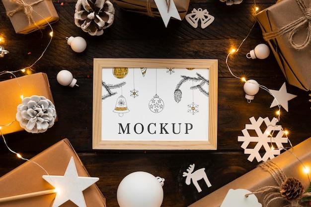 Maqueta de navidad lindas decoraciones de invierno