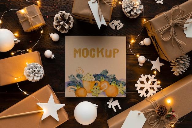 Maqueta navideña elegante decoración de invierno.