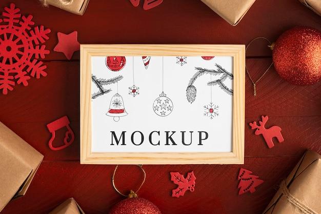 Maqueta navideña en un marco