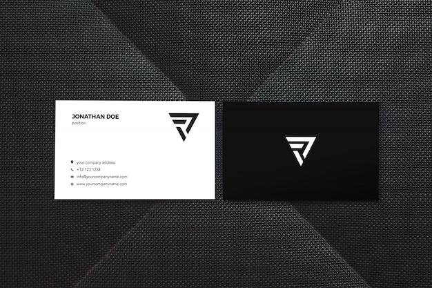Maqueta negra de dos tarjetas de visita