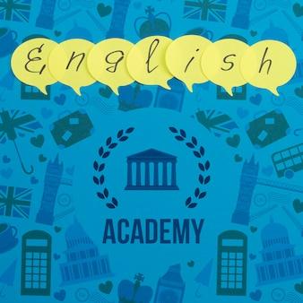 Maqueta de notas adhesivas de la academia de inglés