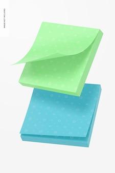 Maqueta de notas adhesivas cuadradas, flotante