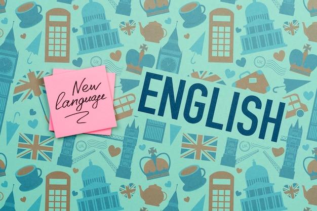 Maqueta de notas adhesivas de nuevo idioma