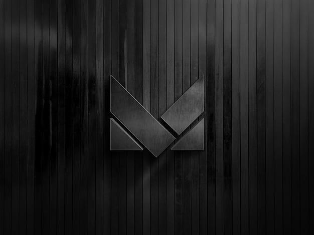 Maqueta de oficina con logo de marca en pared negra moderna