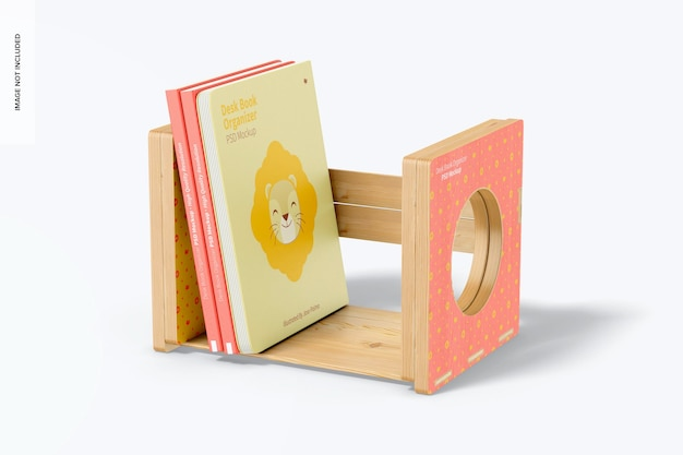 Maqueta de organizador de libros de escritorio