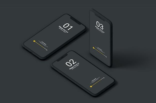 Maqueta oscura de la pantalla del teléfono