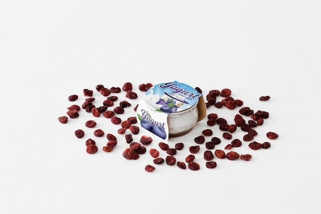 Maqueta de packaging de yogur