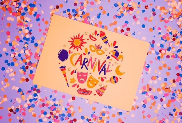 Maqueta de página de papel con concepto de carnaval