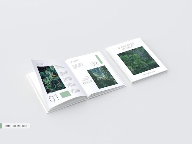 Maqueta de páginas interiores de libro de tapa dura con vista abierta