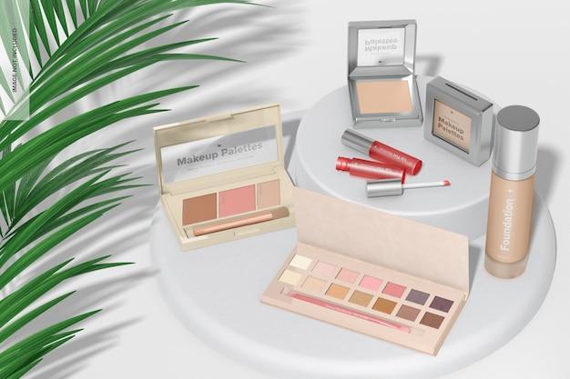 Maqueta de paletas de maquillaje, vista en perspectiva